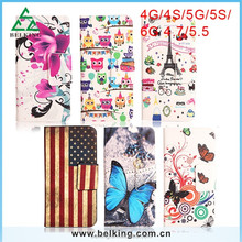Print Flag Flower design universal Leather Case for iphone 4 5 6 sucker leather case