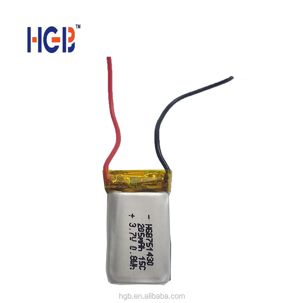 Prismatic Size lithium ion <strong>battery</strong> HGB 751430 3.7V 205mAh 15C high discharge rate small lipo <strong>battery</strong> with wires for UAV/RC