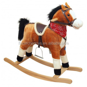 ICTI audit New fashion light brown color plush rocking horse FL090-LB