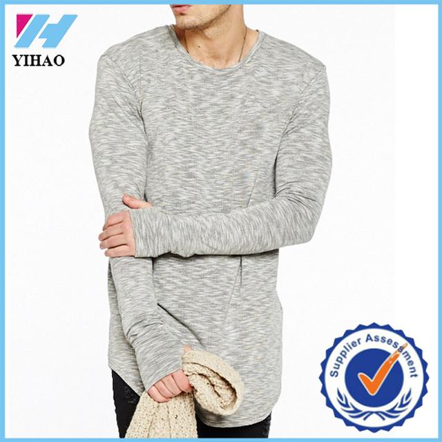 Yihao fashion mens t-shirt long sleeve custom bulk long line white blank men's plain t-shirts