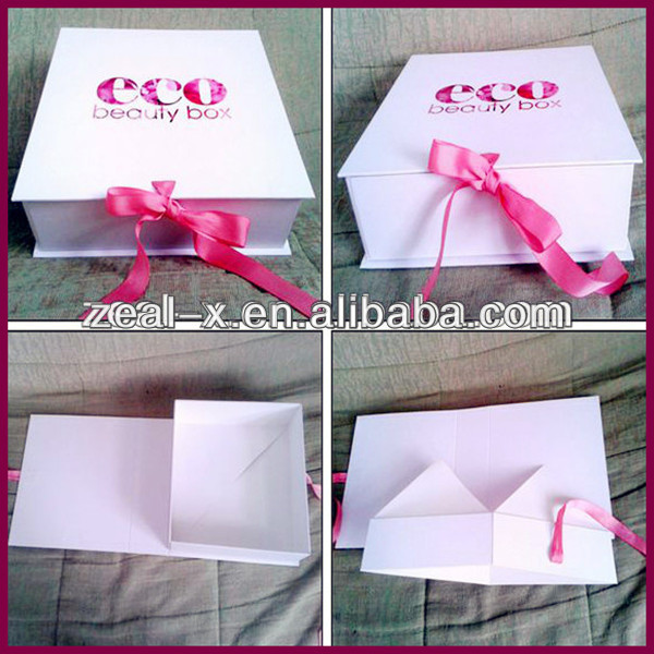 Custom Made Logo UV Coating Effect Ribbon Packaging Gift Box For Headpieces Packing