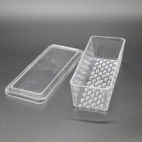 Disposable Rectangular Custom Logo Plastic Cheese Dish Butter Plate with Lid