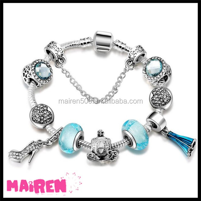 Amazon bestseller wholesale 925 sterling silver European beads MOM Love heart charms for bracelet making with big hole