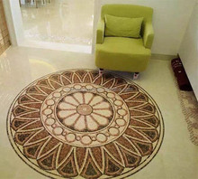 Floor and wall stone marble tile round mosaic foyer medallion floor patterns and trim