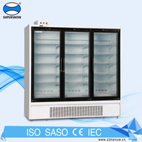 Commercial supermarket glass door display freezer showcase