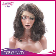 Factory wholesale long layer synthetic wig synthetic lace front wig natural wavy natural brown high temperature fiber wig