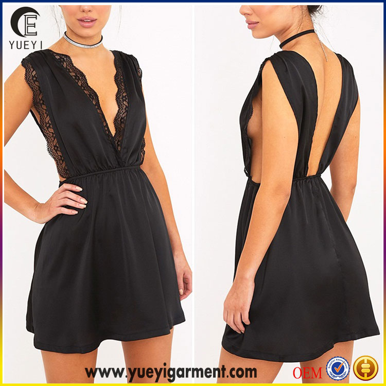 latest western dresses names products in market black satin lace trim custom plunge swing dress