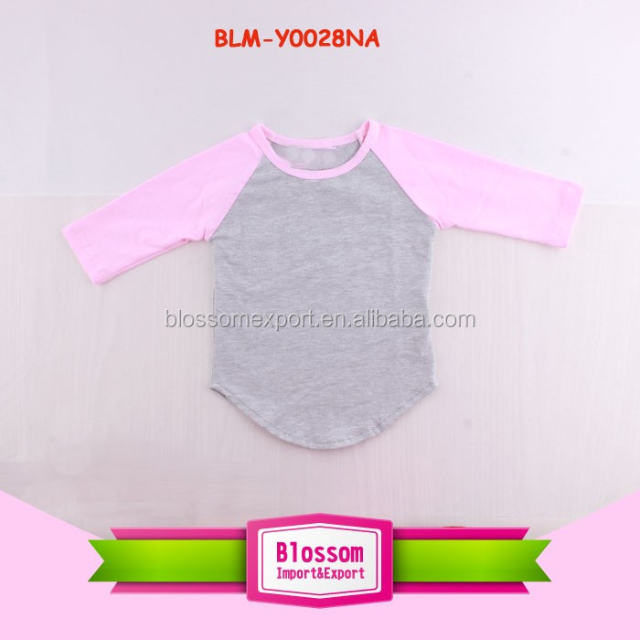Wholesale Children Clothing USA Fall Baby Girls Cotton Striped 3/4 Sleeve Baseball Tee Shirts Raglan Boutique Kids T Shirt