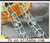 wholesale fashion new design red/blue/pink/white.shining beaded rhinestone crystal decorative stone trim metal clothing chain