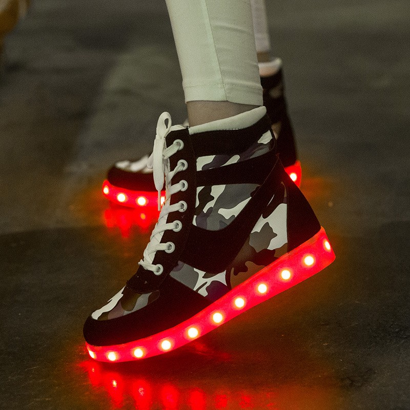 Hot 2017 New Arrival led light running shoes men women with USB Charging Shine Shoes