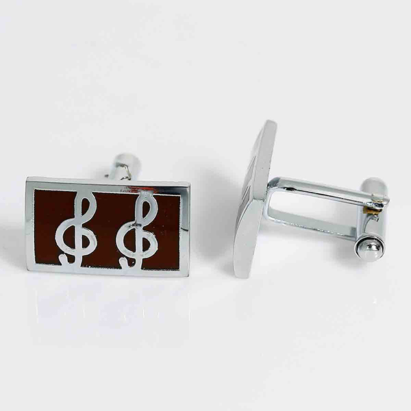 Iron Based Alloy Cuff Links Rectangle Silver Tone Musical Note Carved Coffee Enamel Rotatable 26mm x 21mm