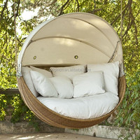 2016 Eye-catching Latest Design round garden swing with retractable canopy wicker hanging bed