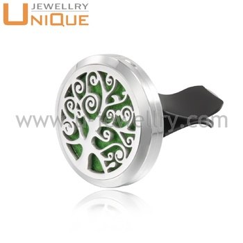 Trendy stainless steel flower round jewelry air freshener essential oil car diffuser locket