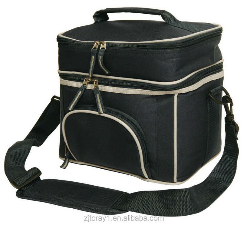 New 2 Layers Cheap Lunch Cooler Bag Picnic Insulated Travel Bag