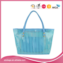 Vertical stripes beach tote bag large pvc shoulder bag with interior pocket