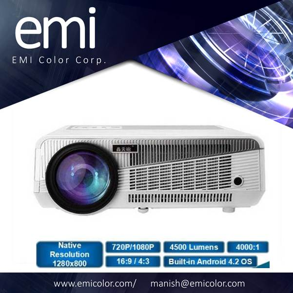 Home Theater Projector, 4500 Lumens, 1080P Full HD Support, Android OS