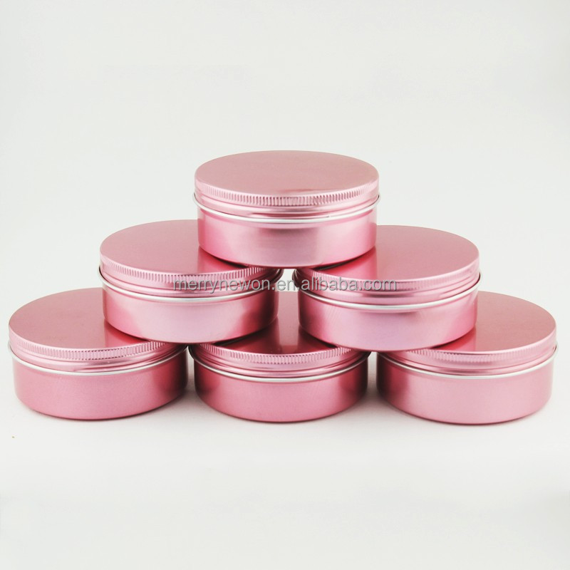 Manufacturers custom thread aluminum box round metal box cream lipstick red aluminum can be customized color patterns