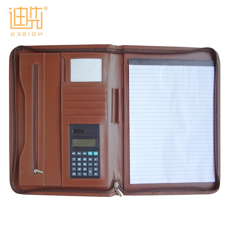 office stationery book document folder a4 portfolio Hot selling business PU leather zipper portfolio