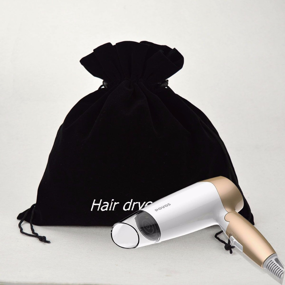 black velvet clothes hair dryer bag with embroidery logo