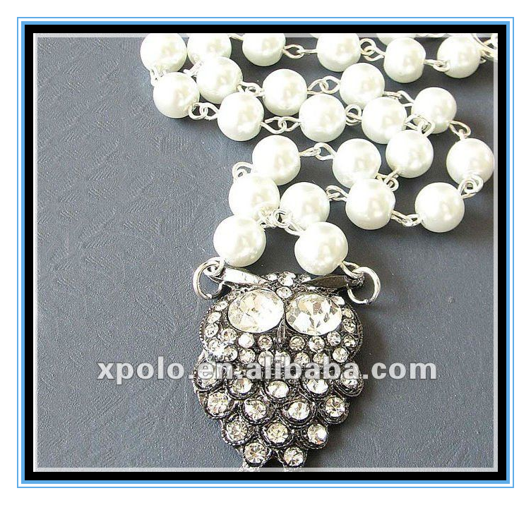 Factory Price Cute White Big Eyes Owl Pendant Neckalce With White Pearl Chain