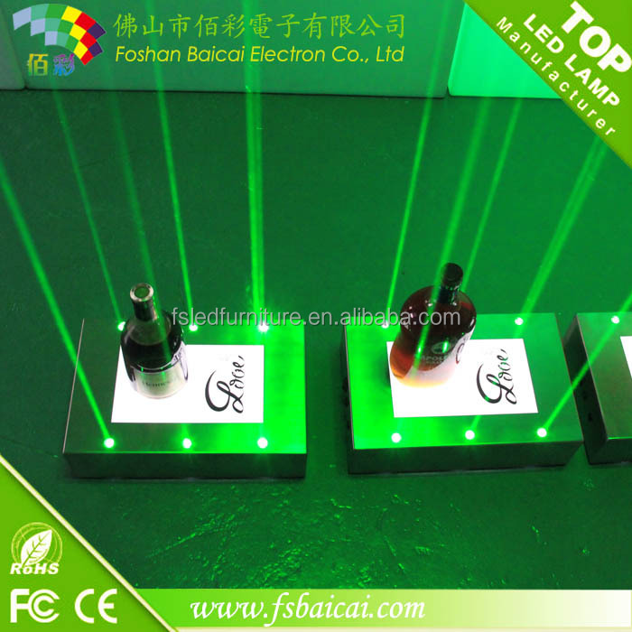 Led Bar Laser wine display Stainless Steel base