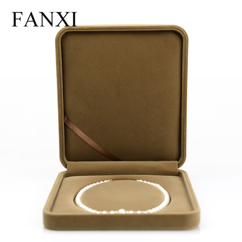 FANXI china wholesale delicate large size coffee color pearl necklace box gift case for wedding velvet jewelry box