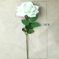 50cm height artificial velvet open rose