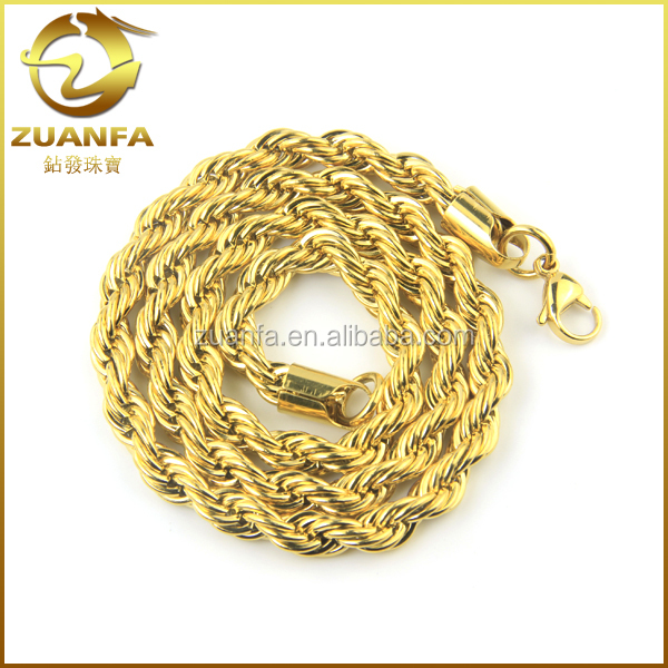 1/20Th 18K Yellow Gold stainless steel mens thick rope chain