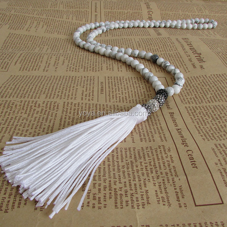 NE2364-1 Fashion hand knotted white turquoise gemstone necklace with white tassel