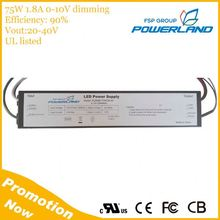 20-40V Output 75W 1800mA 0-10V Dimmable Led Driver With UL Certificate