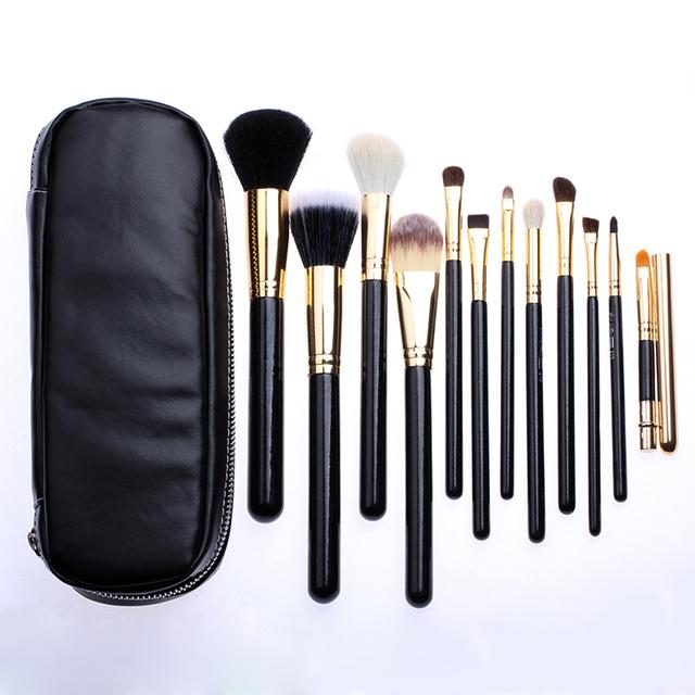 Factory Price Professional 12pcs Goat Hair Makeup Brushes Cosmetic Makeup Brush Set