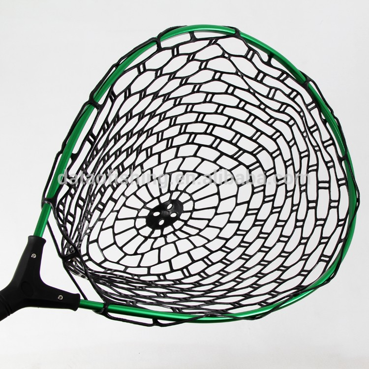Aluminum fly fishing net rubber handle fishing landing for Rubber fishing nets