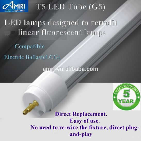T5 LED lamps designed to retrofit linear fluorescent lamps G5