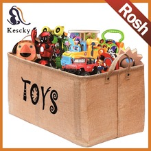 Foldable Well Holding Shape Jute Toy Chest Storage Baskets