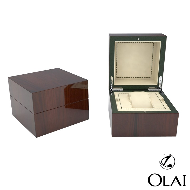 Cutomized glossy wood grain watch box wood,lacquer painting wooden watch box