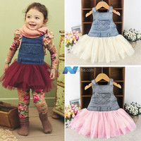 Fashion Girl Jeans Tulle Dress Super Cute Party Dress Suspender Skirt Birthday Gift