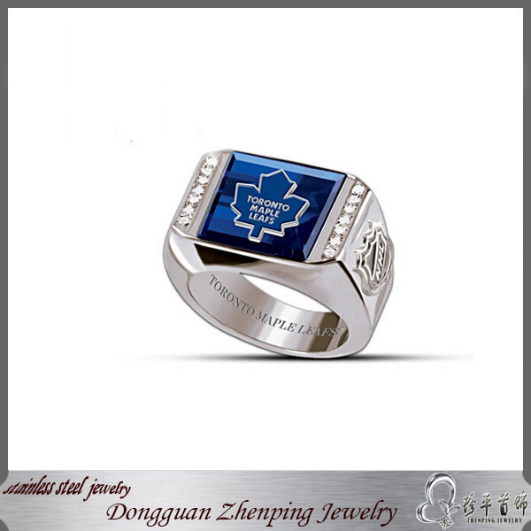 Toronto Maple Leafs Logo Ring with Created Sapphire