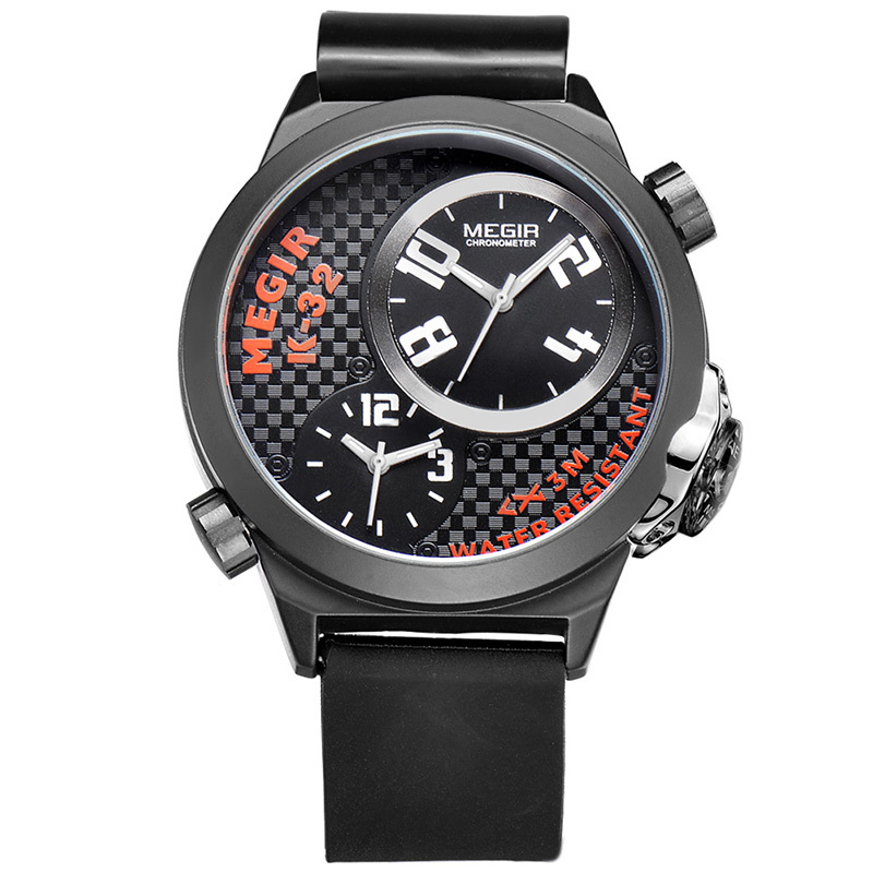 New Designer Sport Man Watch Men Luxury Brand MEGIR Fashion Casual Watch Silicone Dual Time Zone Military Waterproof Watch