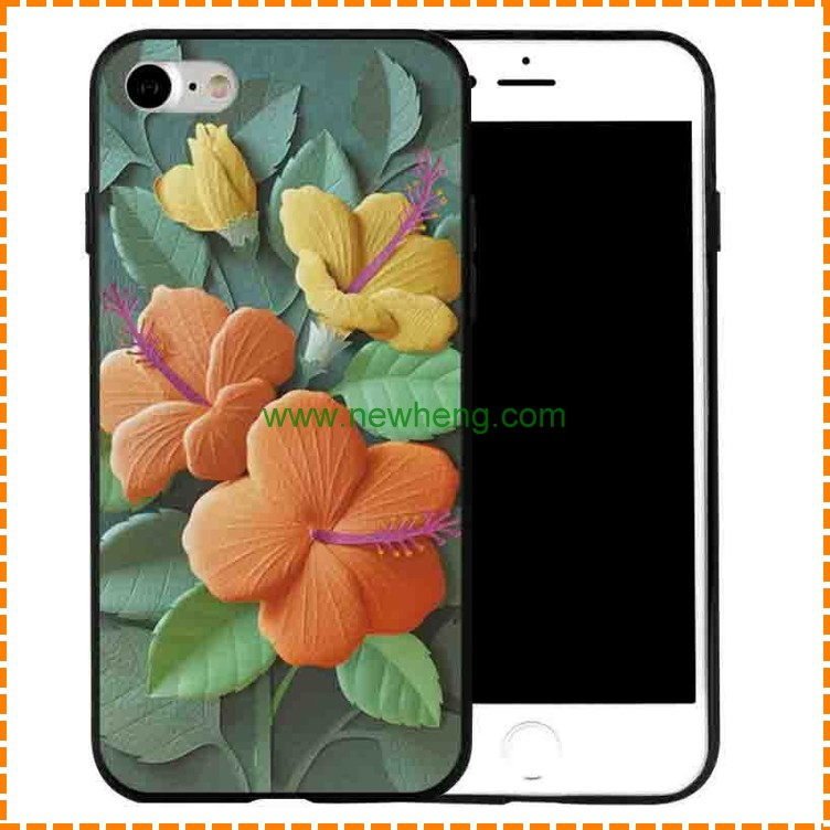 Wholesale frosted soft tpu phone case painted lotus for iphone 7 plus