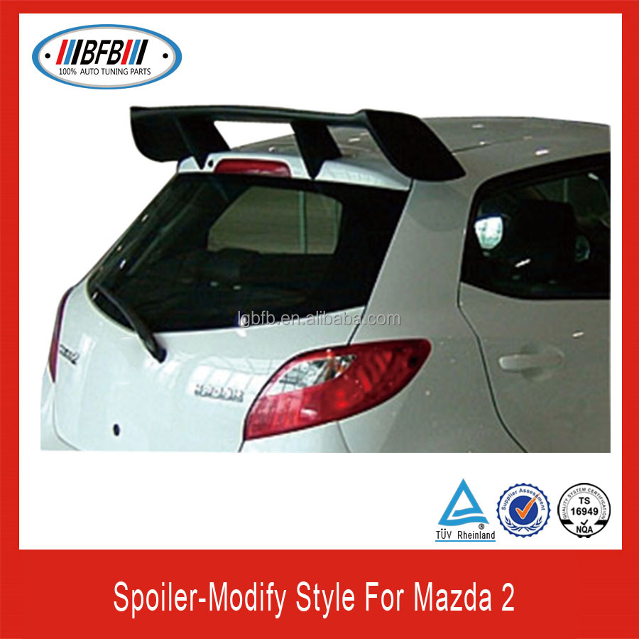 hot sale wing roof ABS rear spoiler for mazda 2 M2 2011 2012 2013 modify style