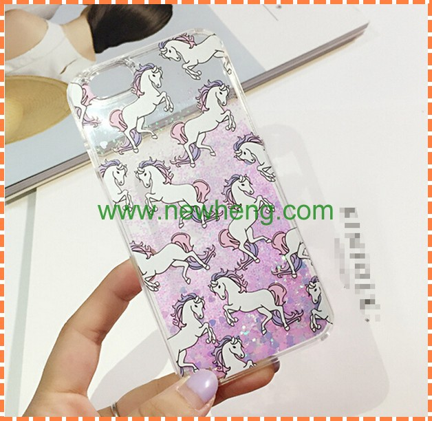 Hot selling unicorn horse glitter liquid case for iphone 6s