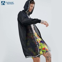 Factory Supply Black Hoodie Perfect Front Fashion Printed Tape Mesh Jacket Men