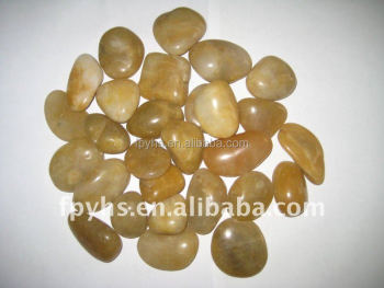 high polished yellow river stone