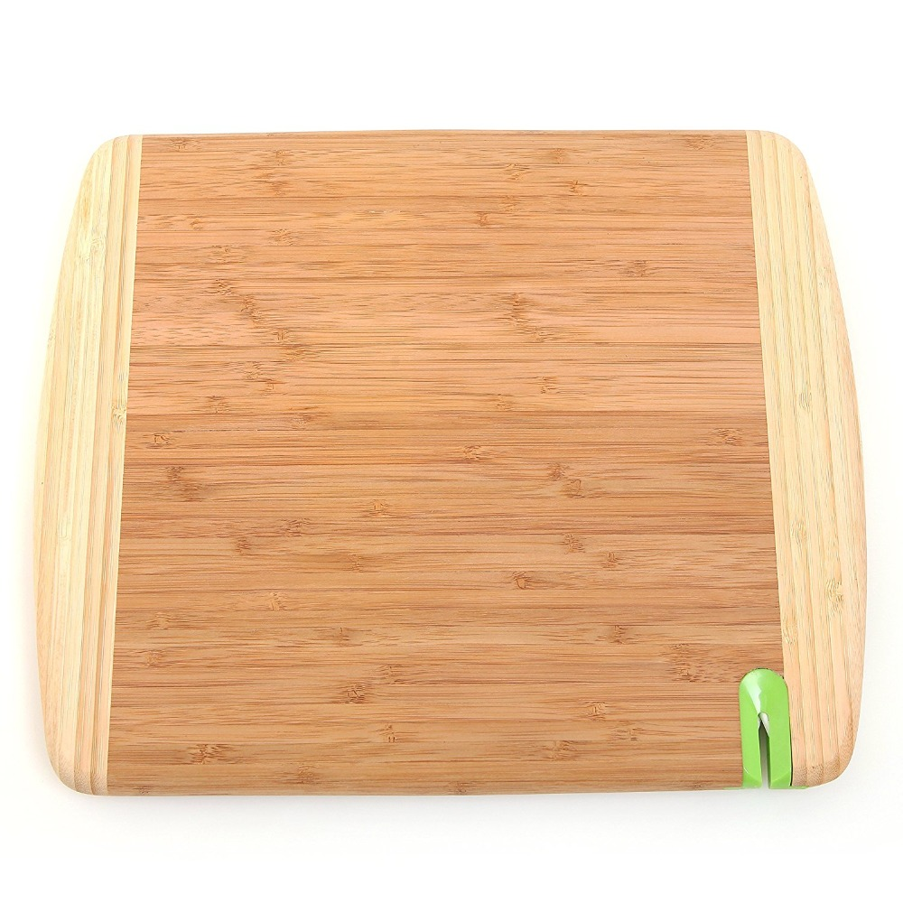 Natural Bamboo Wood Cutting Carving Board with Built-in Knife Sharpener