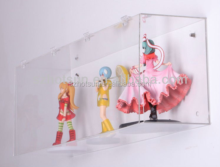 Clear hanging wall mounted figure acrylic display case