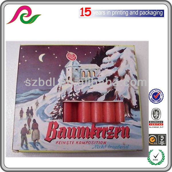 Red Christmas Tree Candles Lithograph Paper Box