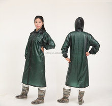 plastic hooded dark green lady long rain coat/raincoat/rainwear