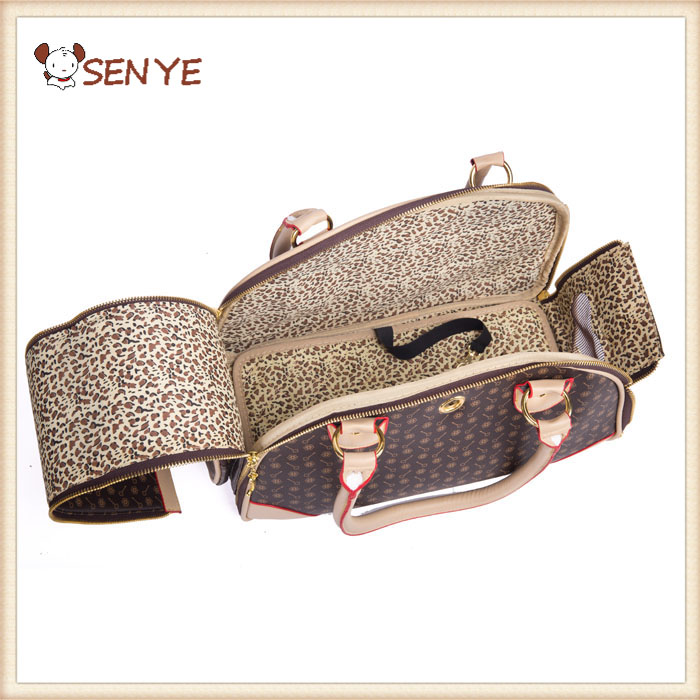 Small Dog Travel Luxury PU Leather Carrier Outdoor Foldable Portable Travel Carriers Pet Bag With Purse