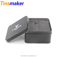 Wholesale cheap square black colored custom retro metal tins with lids