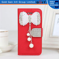 Latest Diamond Design Flip Cover Leather Case For Iphone 5 Case With Diamond